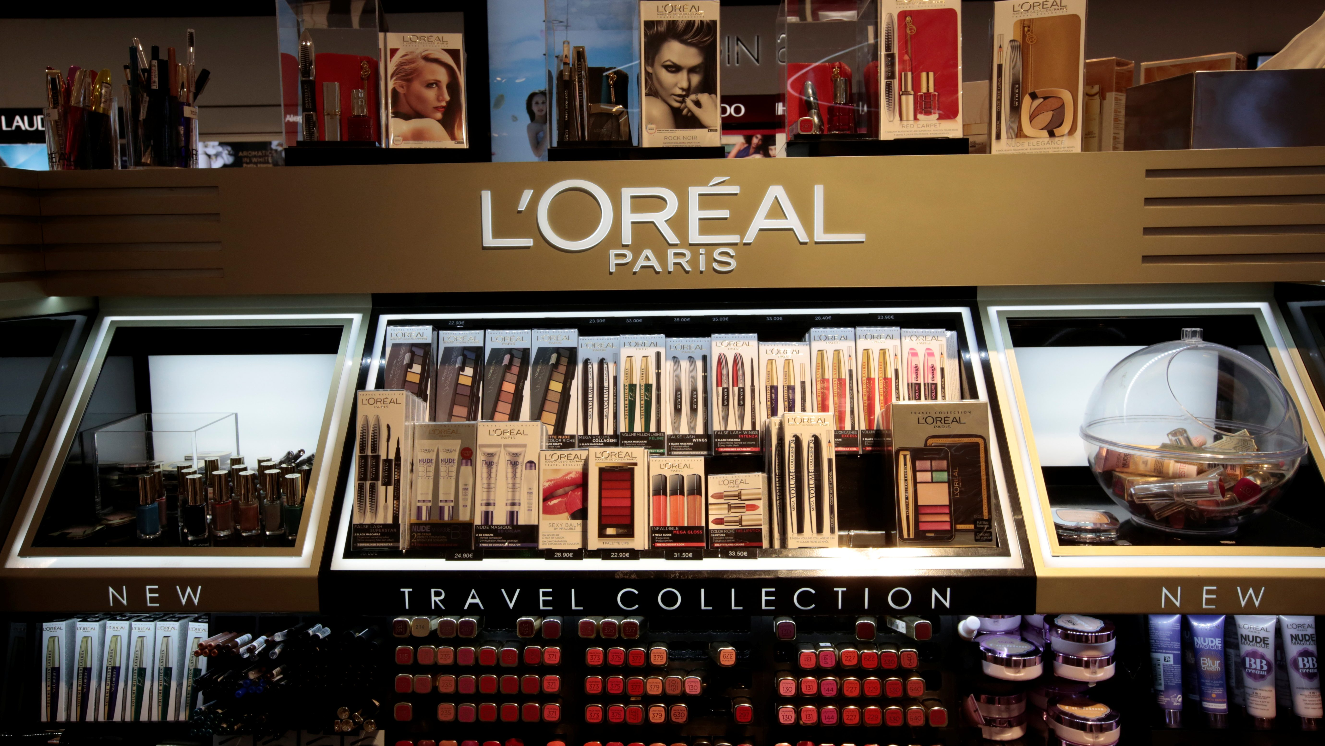A cosmetic display of French cosmetics group L'Oreal is seen during the inauguration of the commercial zone at the Nice international airport Terminal 1 in Nice, France, June 10, 2016.