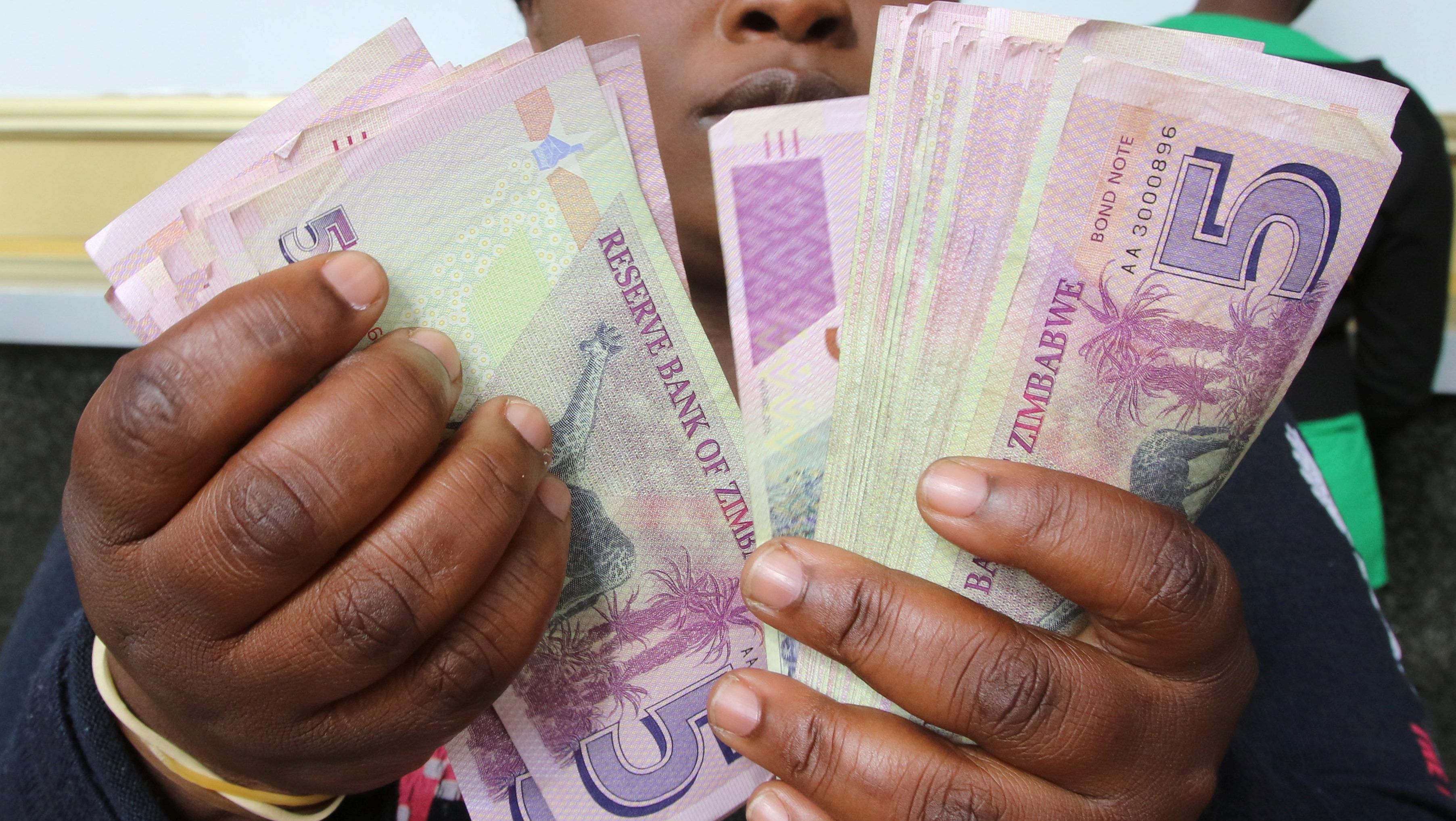 FILE PHOTO: A currency dealer counts wads of bond notes outside a bank in Harare