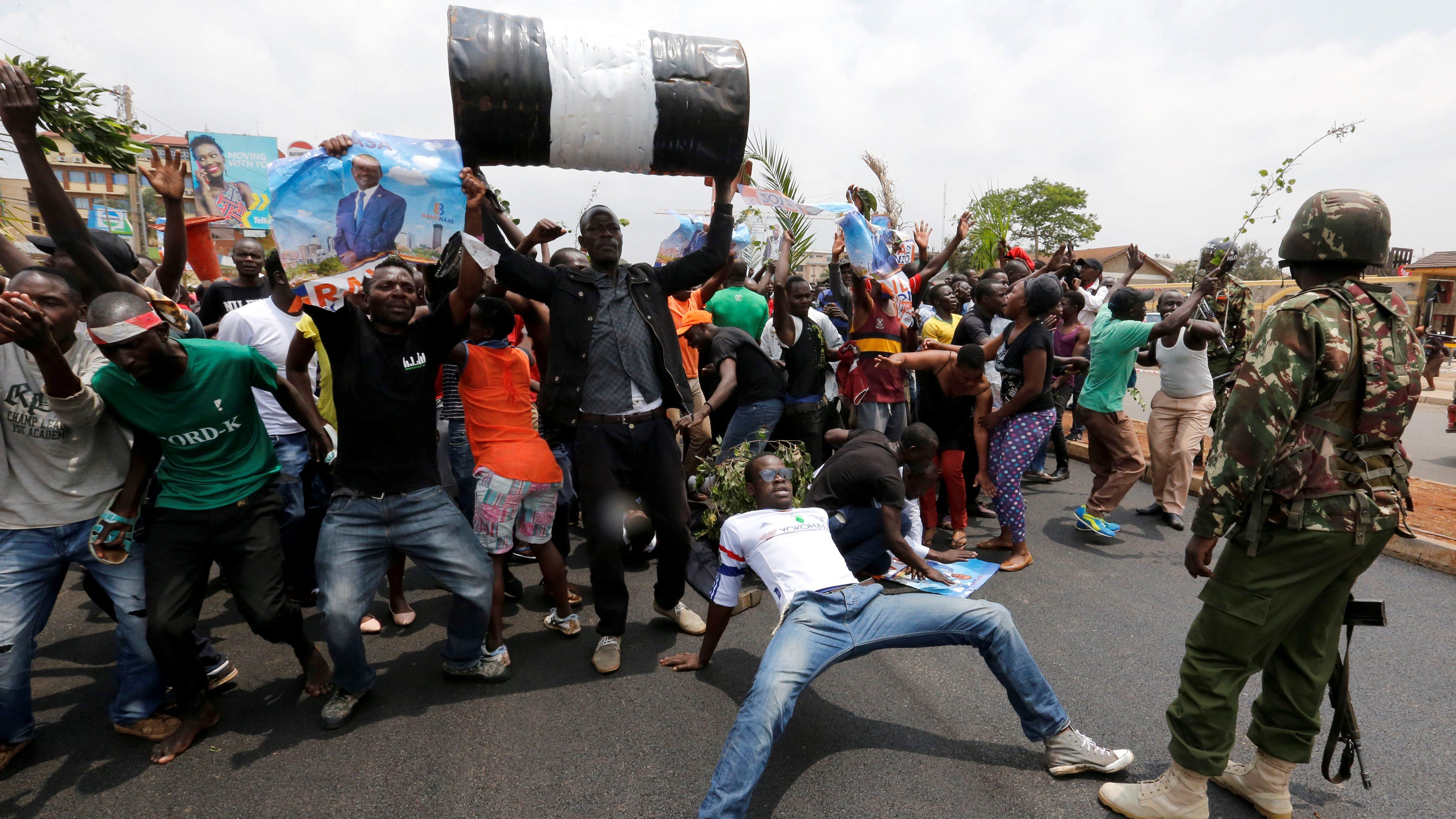 Celebrations in Kibera slum after president Uhuru Kenyatta's election win was declared invalid by a court in Nairobi, Kenya, September 1, 2017.