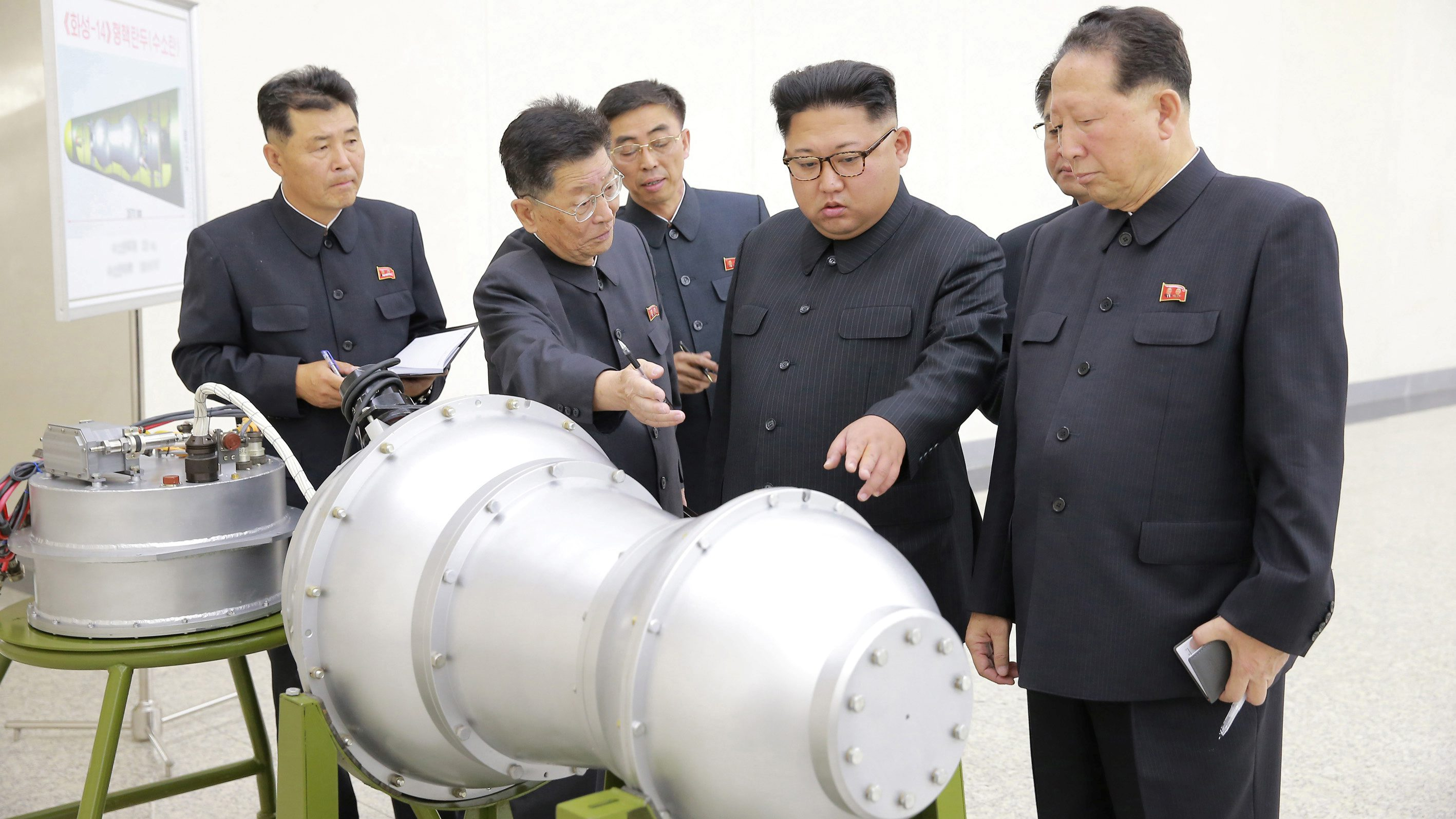 North Korean leader Kim Jong Un provides guidance on a nuclear weapons program in this undated photo released by North Korea's Korean Central News Agency