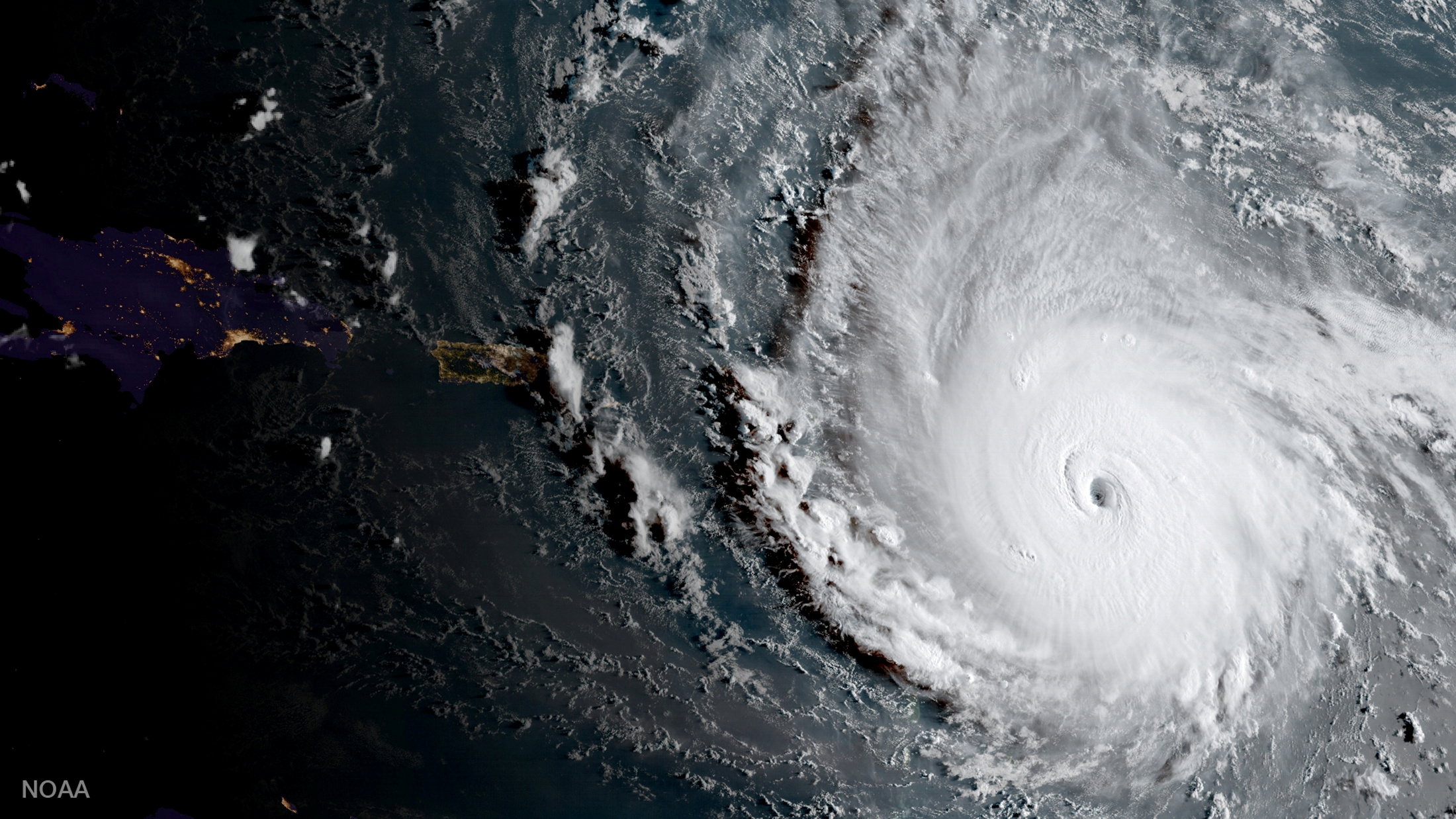 Hurricane Irma, a record Category 5 storm, is seen in this NOAA National Weather Service National Hurricane Center image from GOES-16 satellite taken on September 5, 2017.    Courtesy NOAA National Weather Service National Hurricane Center/Handout via REUTERS     ATTENTION EDITORS - THIS IMAGE WAS PROVIDED BY A THIRD PARTY     TPX IMAGES OF THE DAY - RC1A1DEE80D0