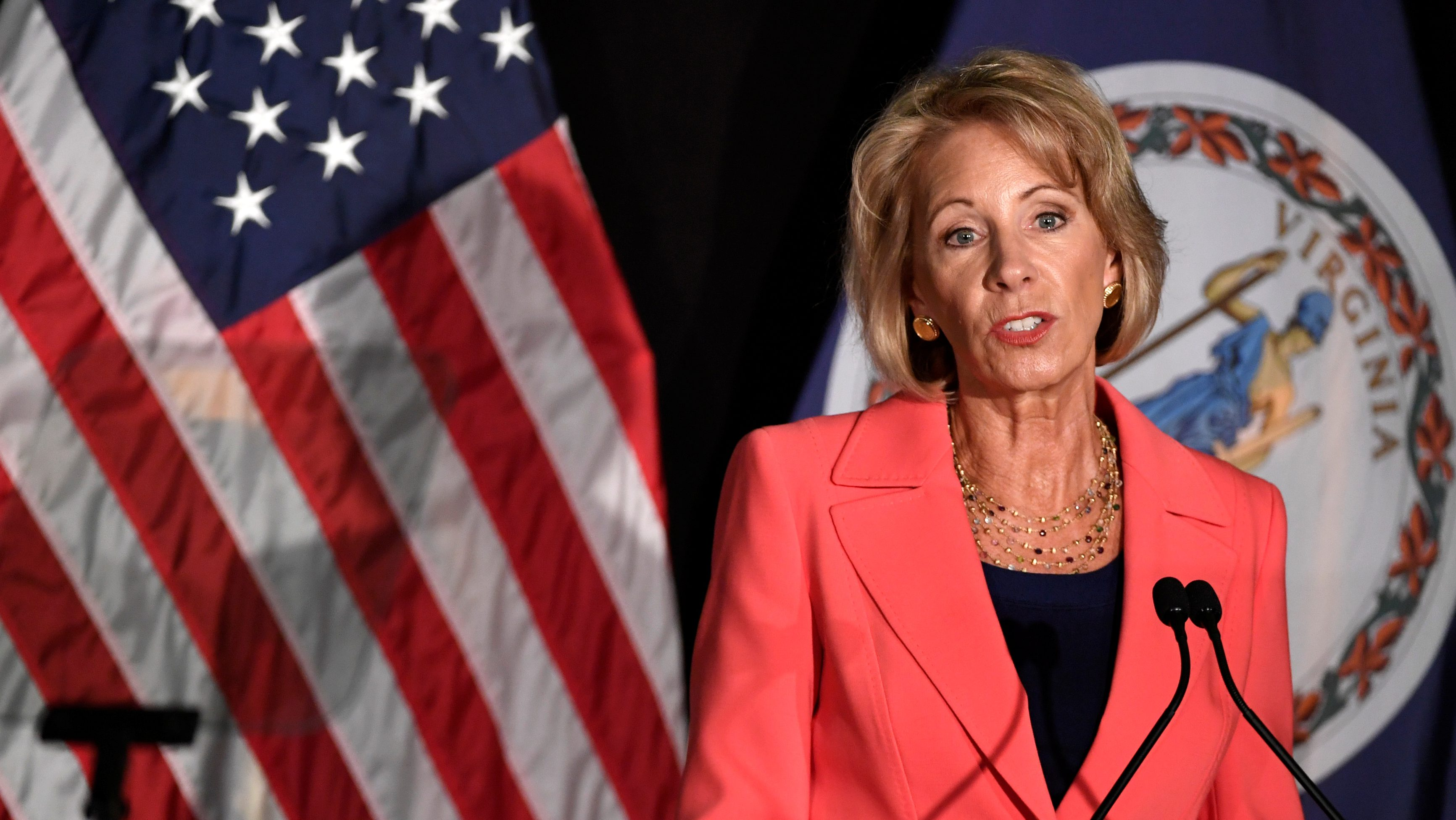Education Secretary Betsy DeVos makes remarks during a major policy address on Title IX enforcement, which in college covers sexual harassment, rape and assault, at George Mason University, in Arlington, Virginia, U.S., September 7, 2017.           REUTERS/Mike Theiler - RC1A35185890