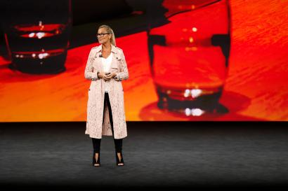 Apple Senior Vice President of Retail, Angela Ahrendts, speaks during a product launch event.