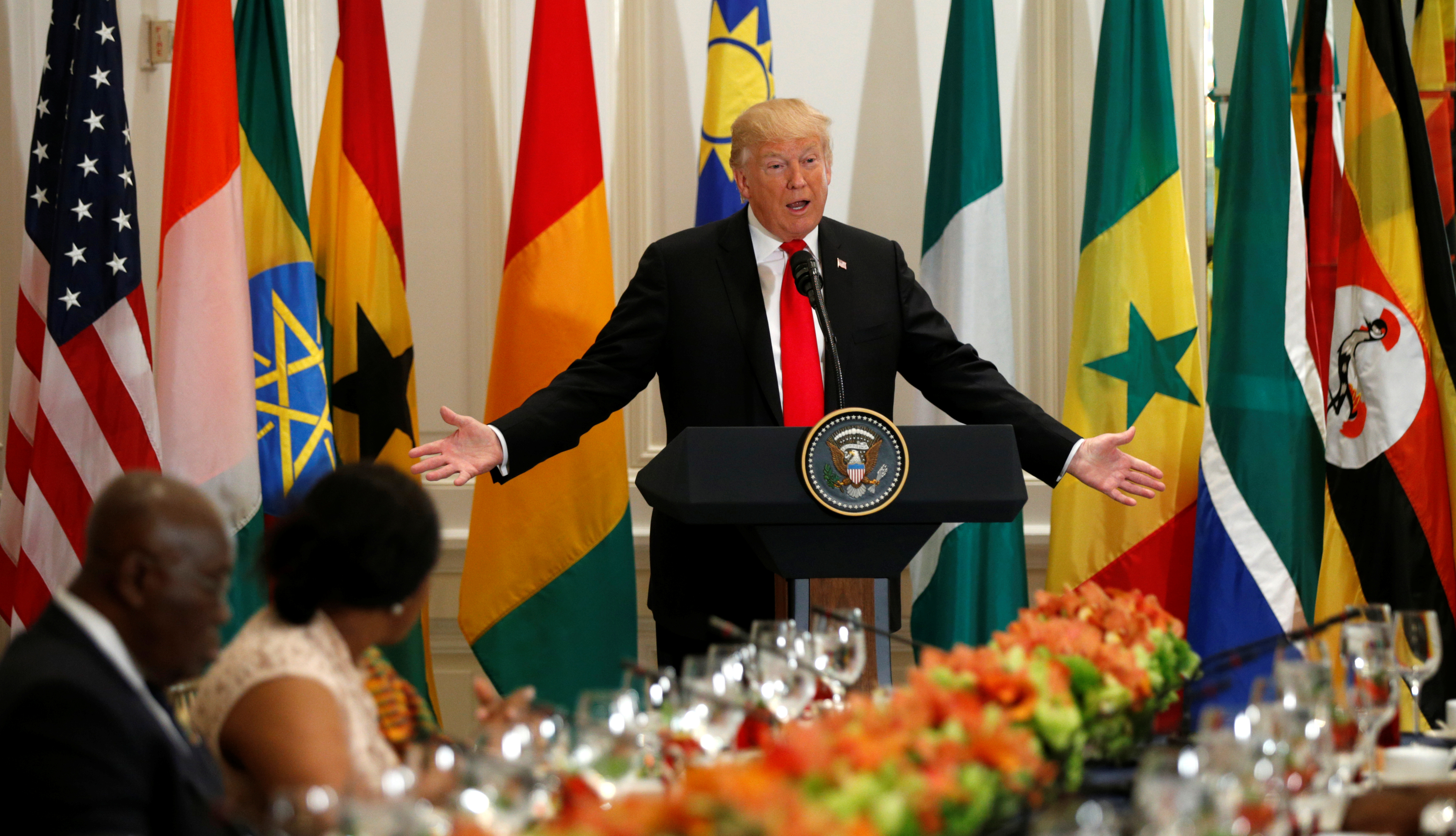 Trump hosts a working lunch with African leaders in New York