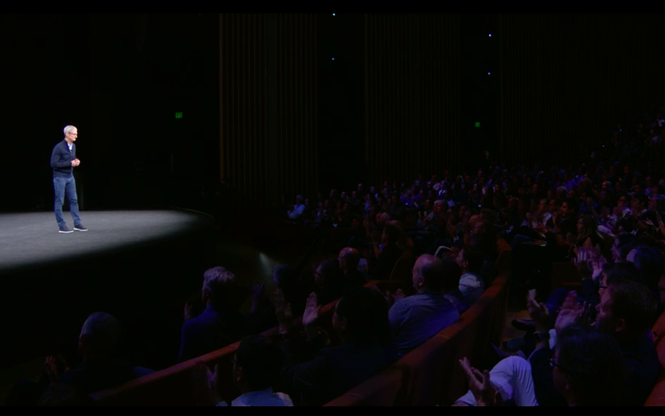 Tim Cook on stage at the Apple Special Event
