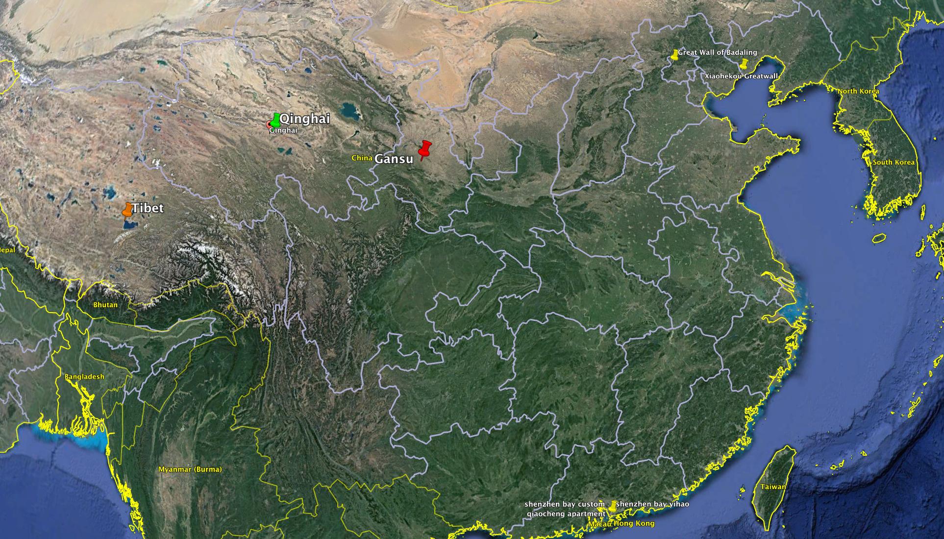Tibet, Qinghai, and Gansu, where Tibetan mastiffs are seen and traded.