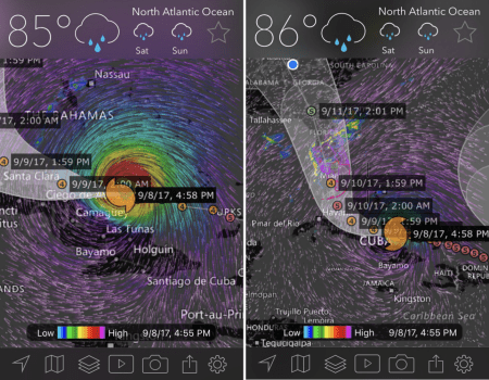 "The ""Hurricane Tracker"" upgrade shows a hurricane's past, current, and project positions."