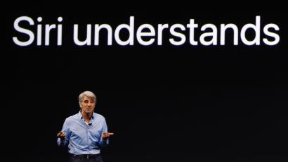 Craig Federighi, Apple's software engineering chief, speaks during the company's developer conference (2017).