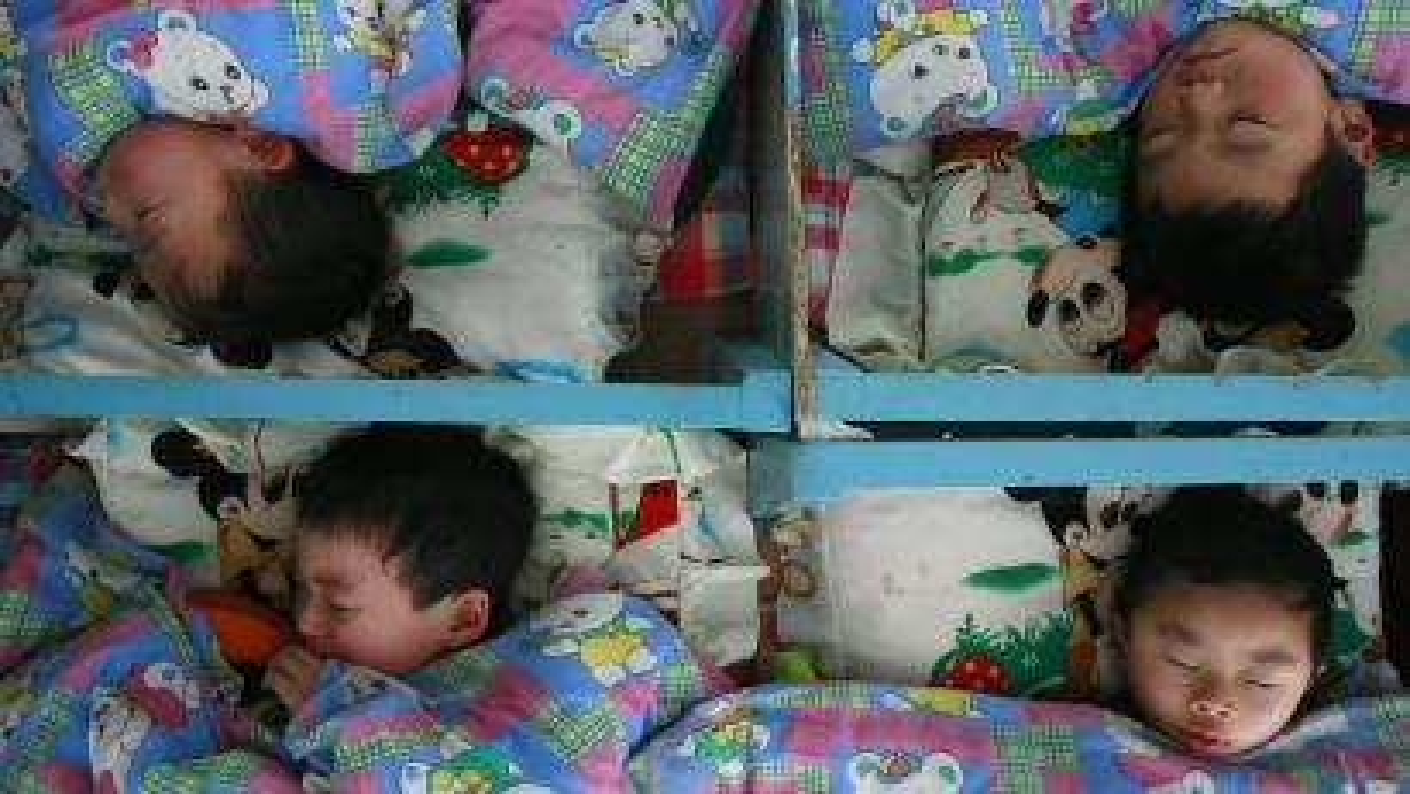 four sleeping children.