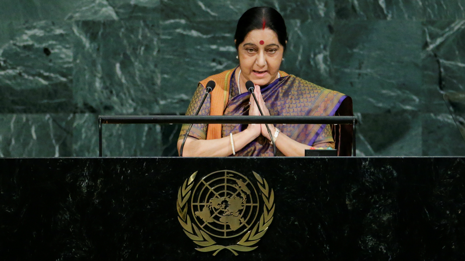 Indian External Affairs Minister Sushma Swaraj addresses the 72nd United Nations General Assembly at U.N. headquarters in New York, U.S., September 23, 2017.
