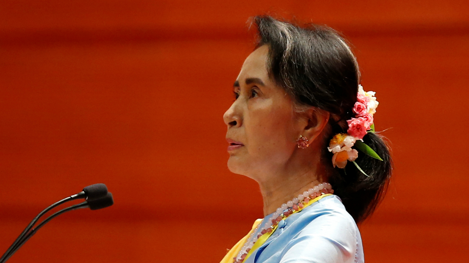Myanmar State Counsellor Aung San Suu Kyi speaks at the opening ceremony of the 21st Century Panglong Conference in Naypyitaw, Myanmar May 24, 2017.