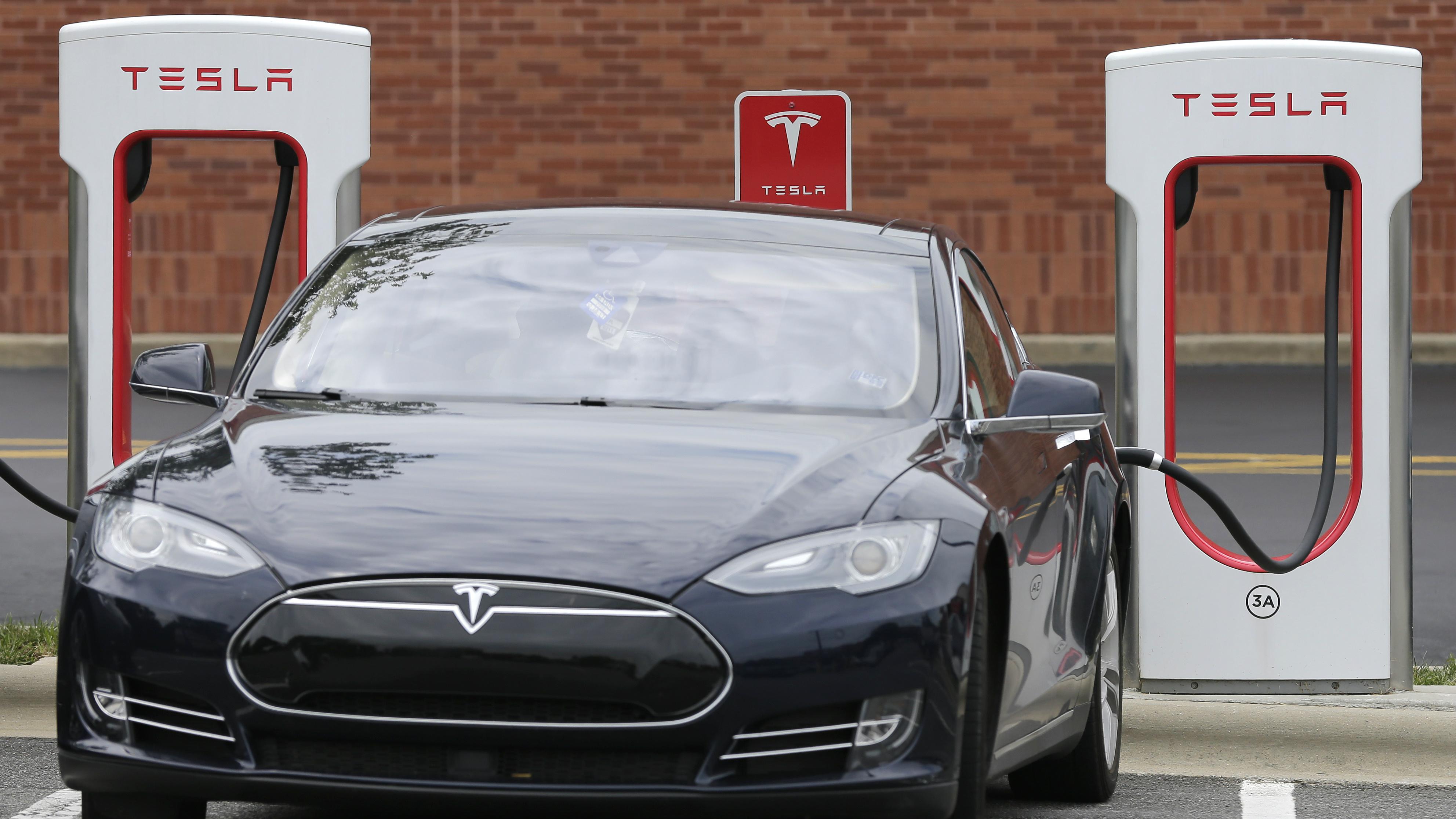 A Tesla charging.