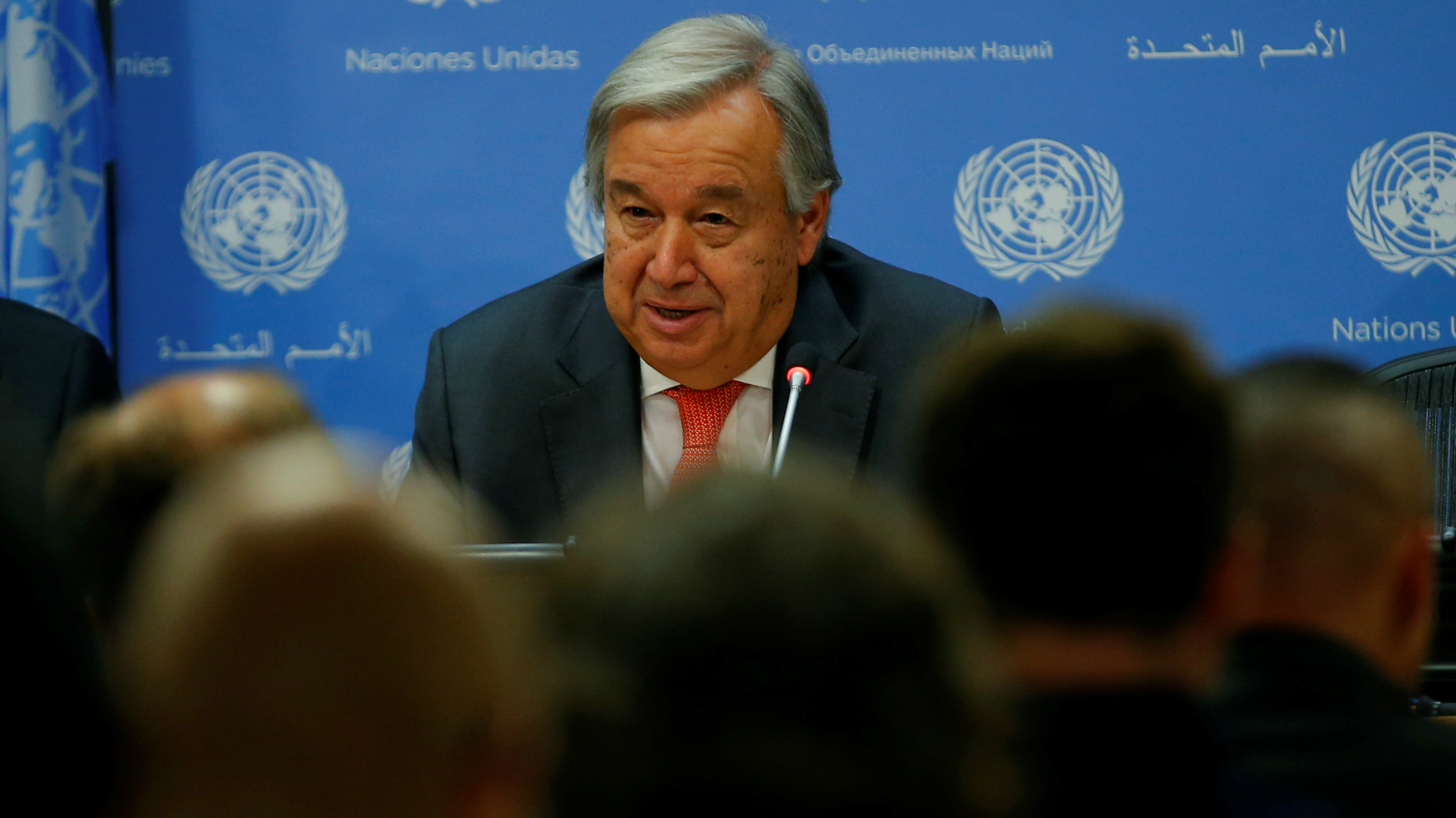 UN Secretary General Antonio Guterres speaks at a news conference ahead of the 72nd United Nations General Assembly at U.N. headquarters in New York, September 13, 2017.