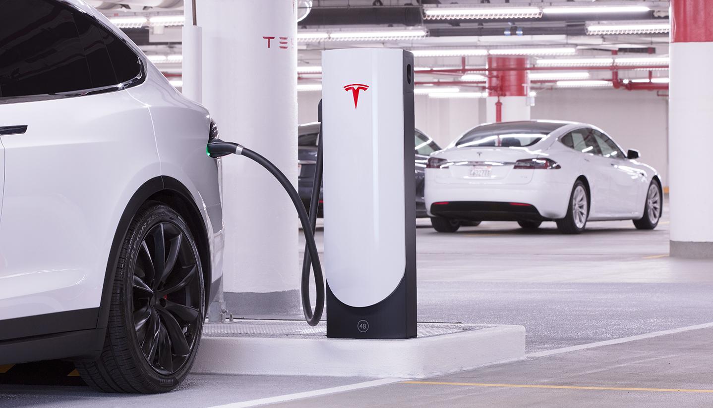 Tesla's new compact, urban Supercharger.