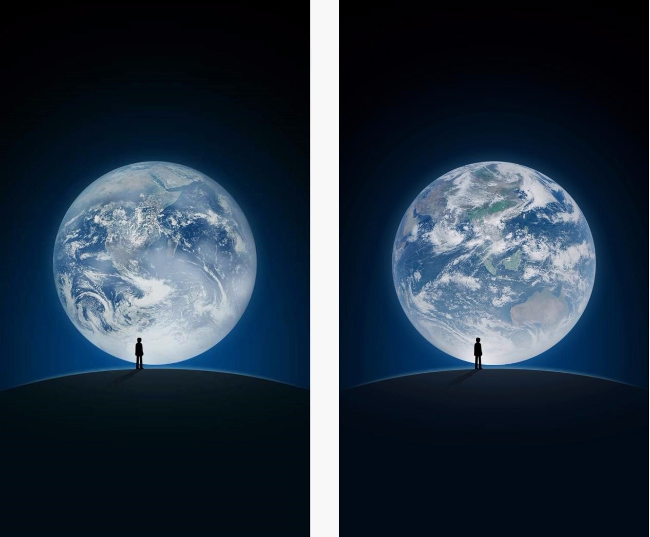 WeChat's original splash page (left) featured NASA's iconic Blue Marble shot. The updated page (right) will feature a new image captured by Chinese satellite Feng Yun-4A.