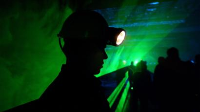 A young miner stands during celebrations of 130 years of coal mining in Velenje.