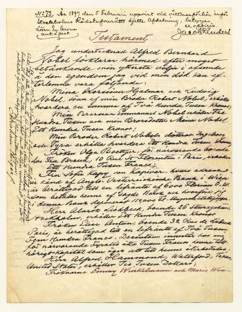 Alfred Nobel's will.