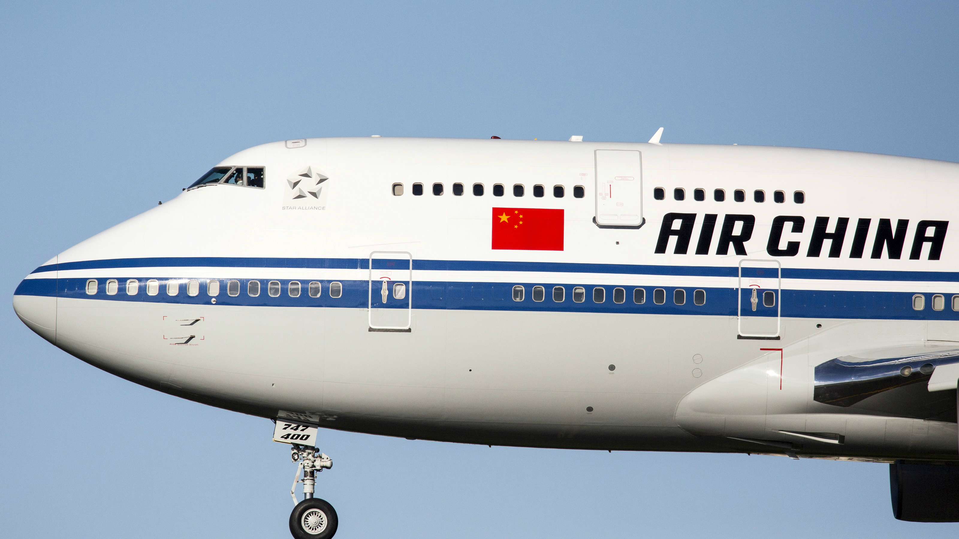 An Air China plane in the sky.