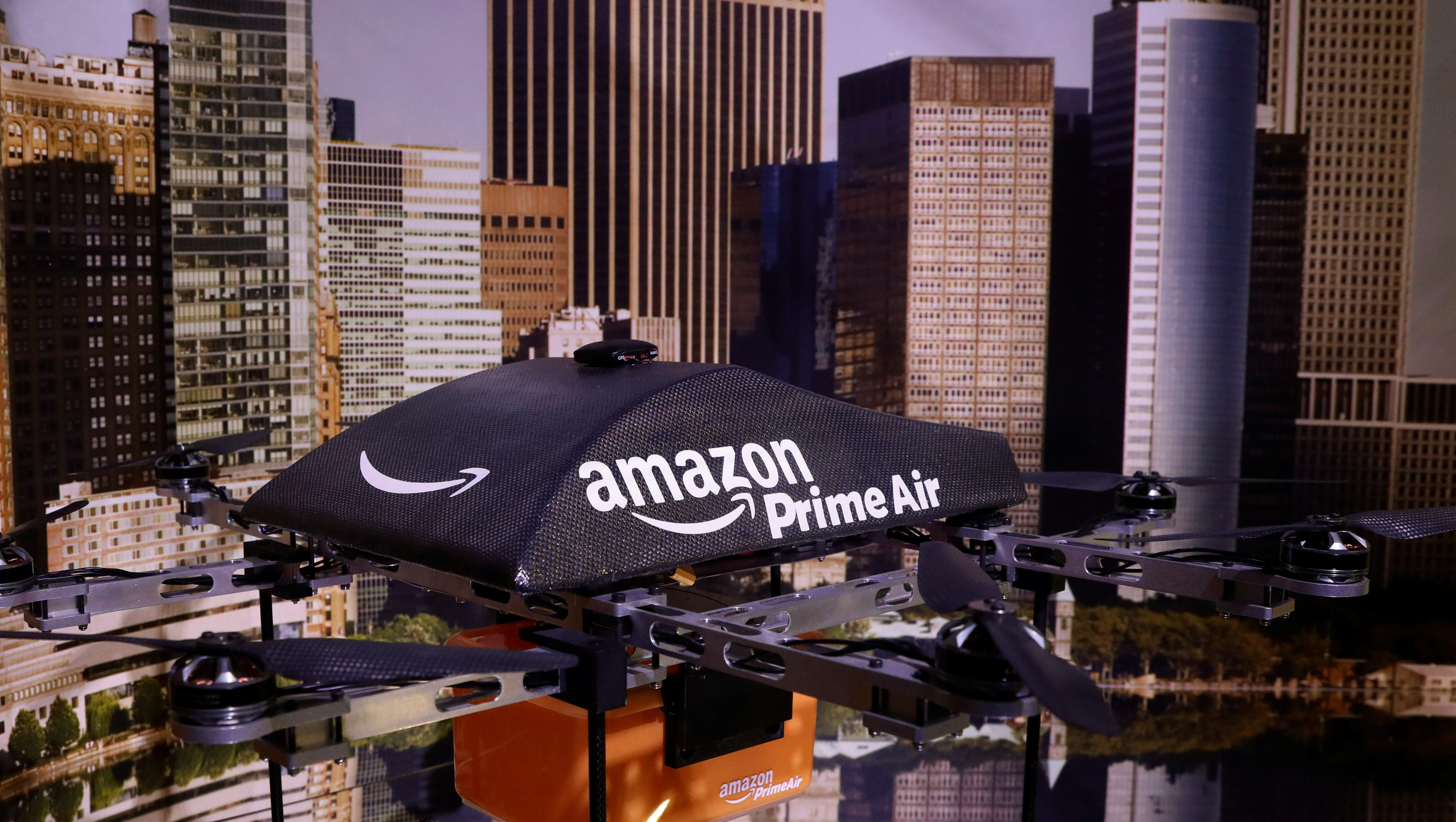 An Amazon Prime Air Flying Drone is displayed during the 'Drones: Is the Sky the Limit?' exhibition at the Intrepid Sea, Air & Space Museum in New York City, U.S., May 9, 2017. RC1C46E39350