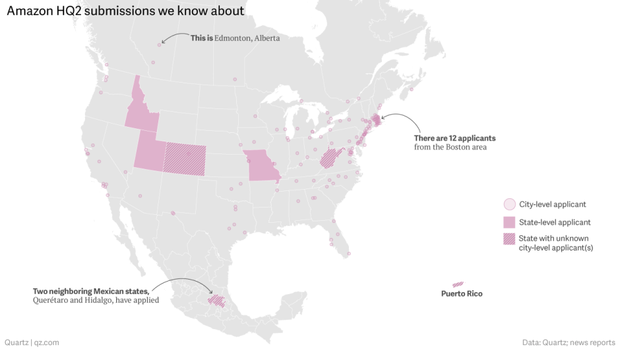 Amazon headquarters: The 238 cities that bid on Amazon\'s HQ2 — Quartz