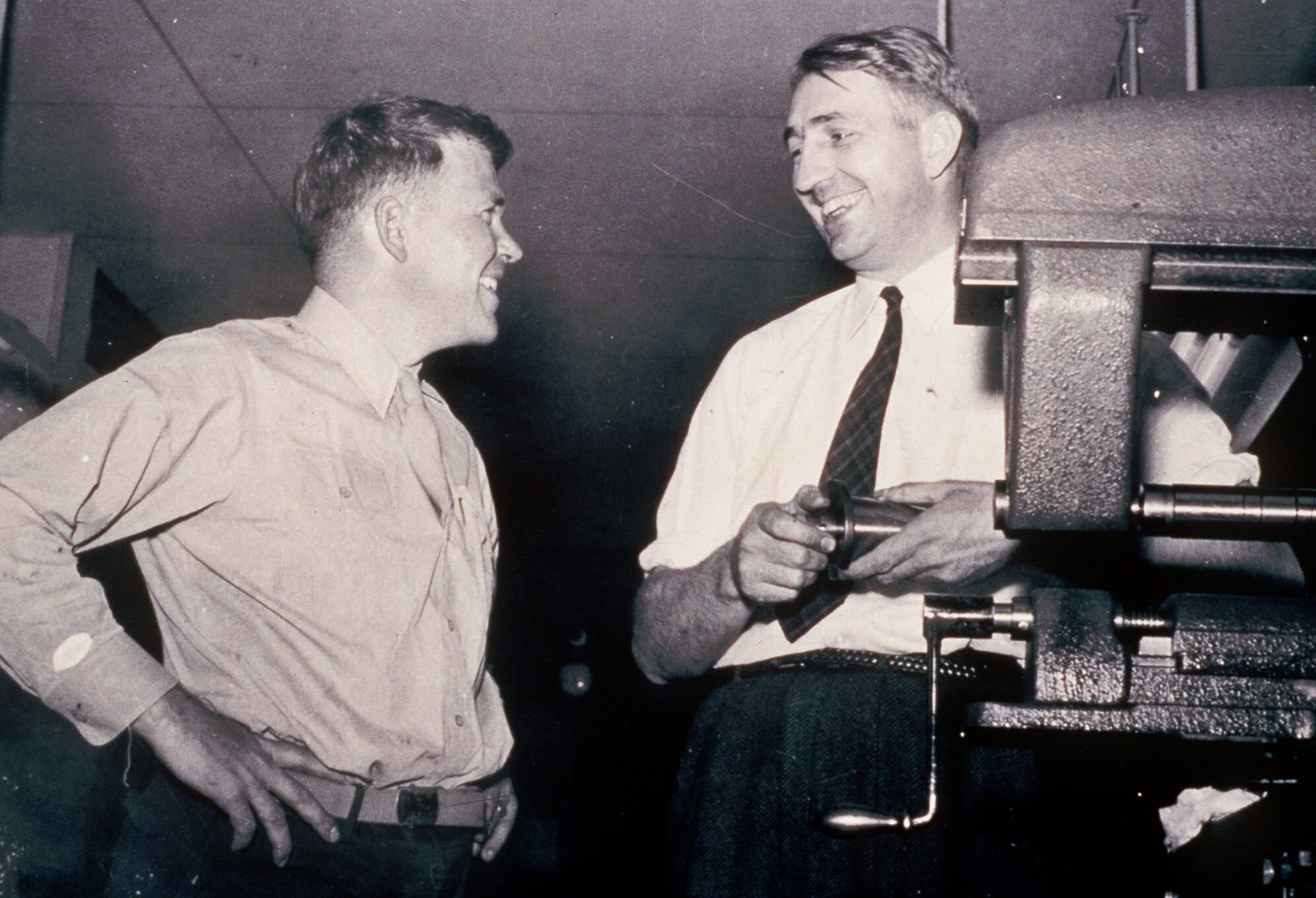 This is an undated photo from the 1940's of William Hewlett, left, and David Packard. They co-founded Silicon Valley electronics company Hewlett-Packard Co. Hewlett died Friday, Jan. 12, 2001. He was 87. (AP Photo/HO/Hewlett Packard)