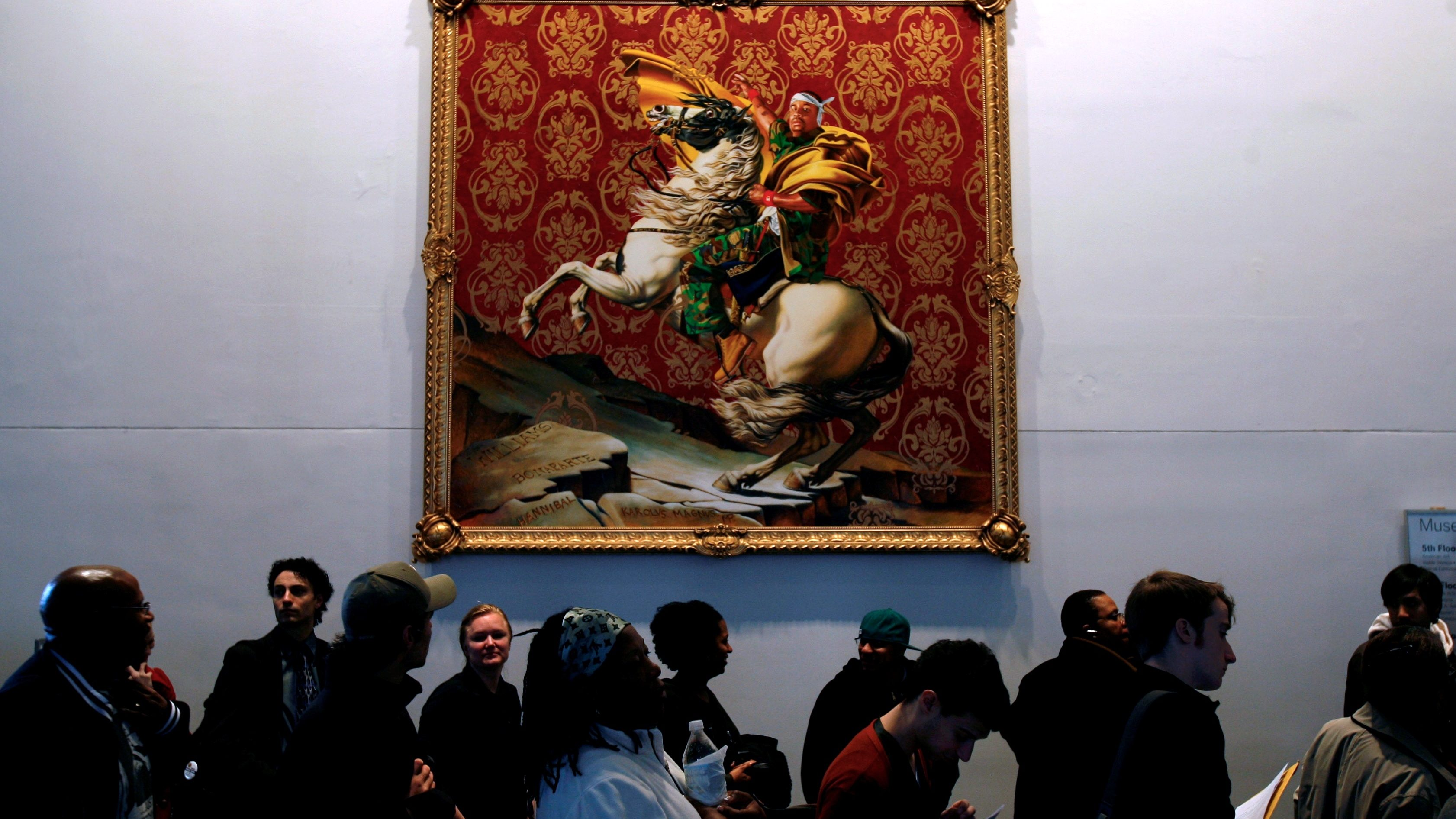 A long line of voters moves slowly past a painting by Kehinde Wiley at a polling site in the Brooklyn Museum of Art in New York, Tuesday, Nov. 4, 2008.  (AP Photo/Seth Wenig)