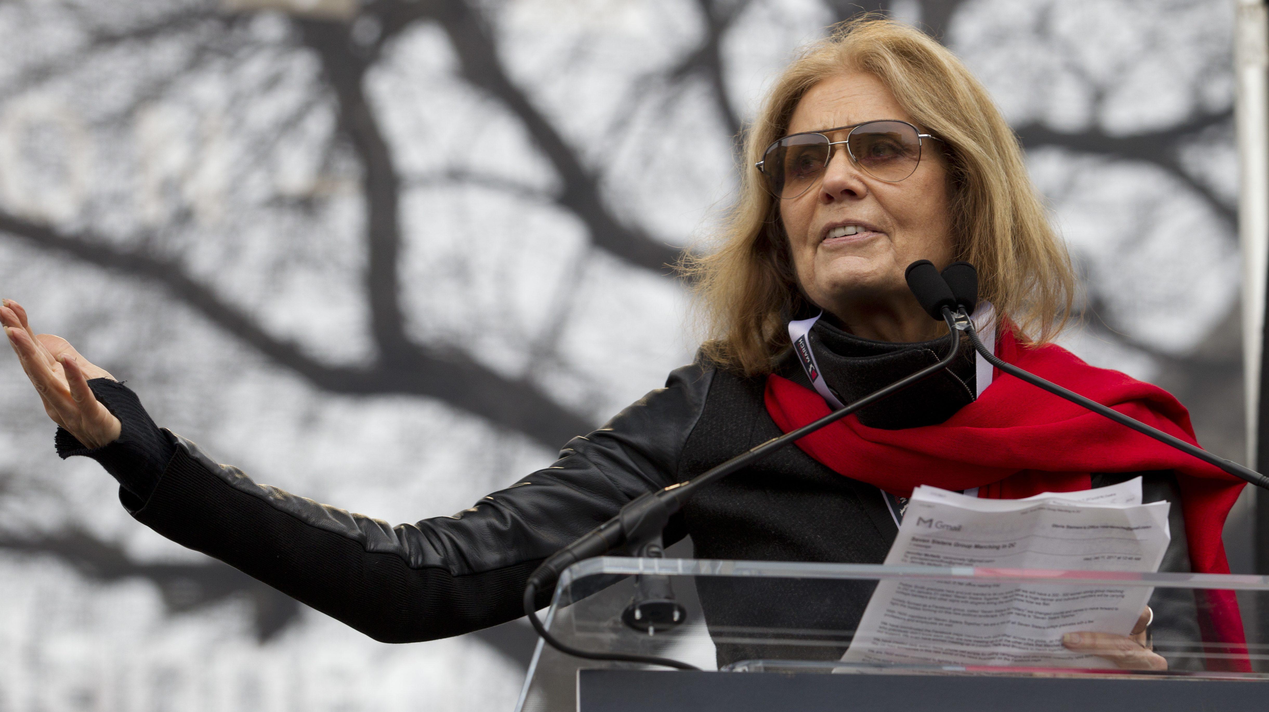 Writer and political activist Gloria Steinem speaks to the crowd during the Women's March on Washington, Saturday, Jan. 21, 2017 in Washington. (AP Photo/Jose Luis Magana)