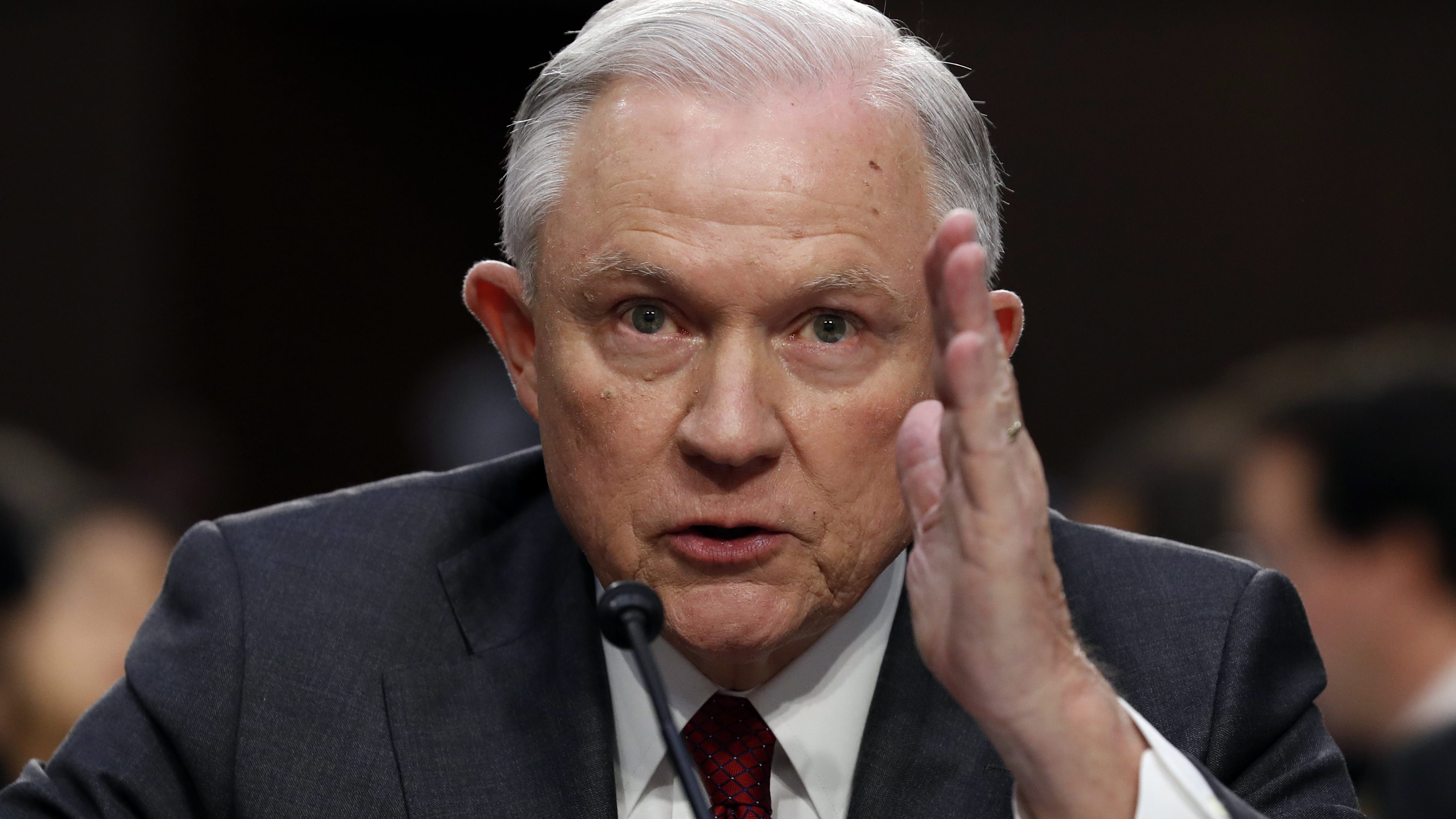 Attorney General Jeff Sessions testifies on Capitol Hill in Washington, Tuesday, June 13, 2017, before the Senate Intelligence Committee hearing about his role in the firing of James Comey, his Russian contacts during the campaign and his decision to recuse from an investigation into possible ties between Moscow and associates of President Donald Trump. (AP Photo/Alex Brandon)