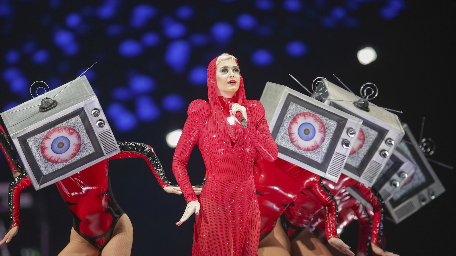 Singer/songwriter Katy Perry performs on stage at the Capitol One Arena on Monday, Sept. 25, 2017, in Washington. (Photo by Brent N. Clarke/Invision/AP)