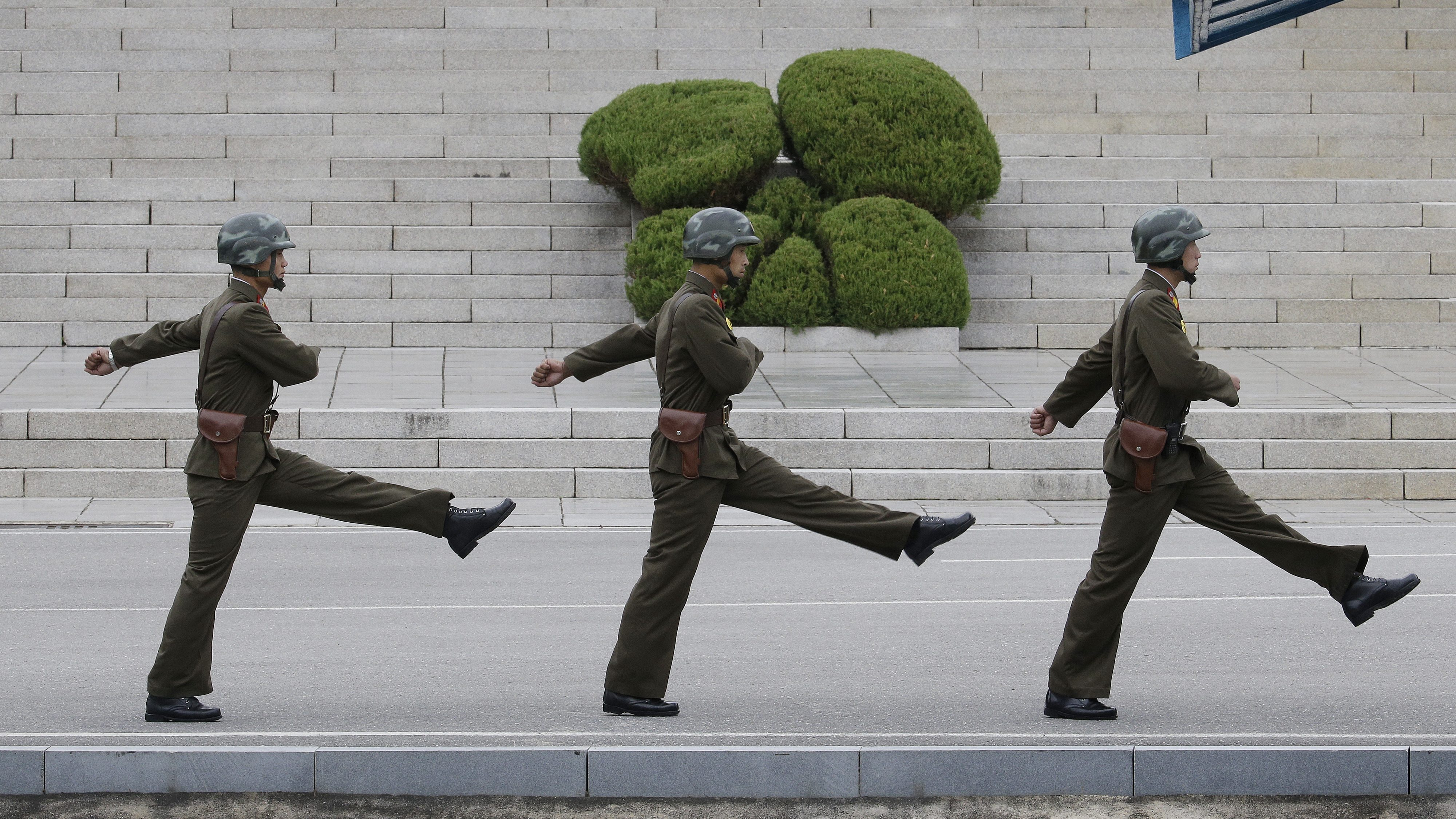 In this Thursday, Oct. 12, 2017, file photo, North Korean soldiers march during a visit by Australian Defense Minister Marise Payne and Foreign Minister Julie Bishop to the border village of Panmunjom in Paju, South Korea. (AP Photo/Ahn Young-joon, File)