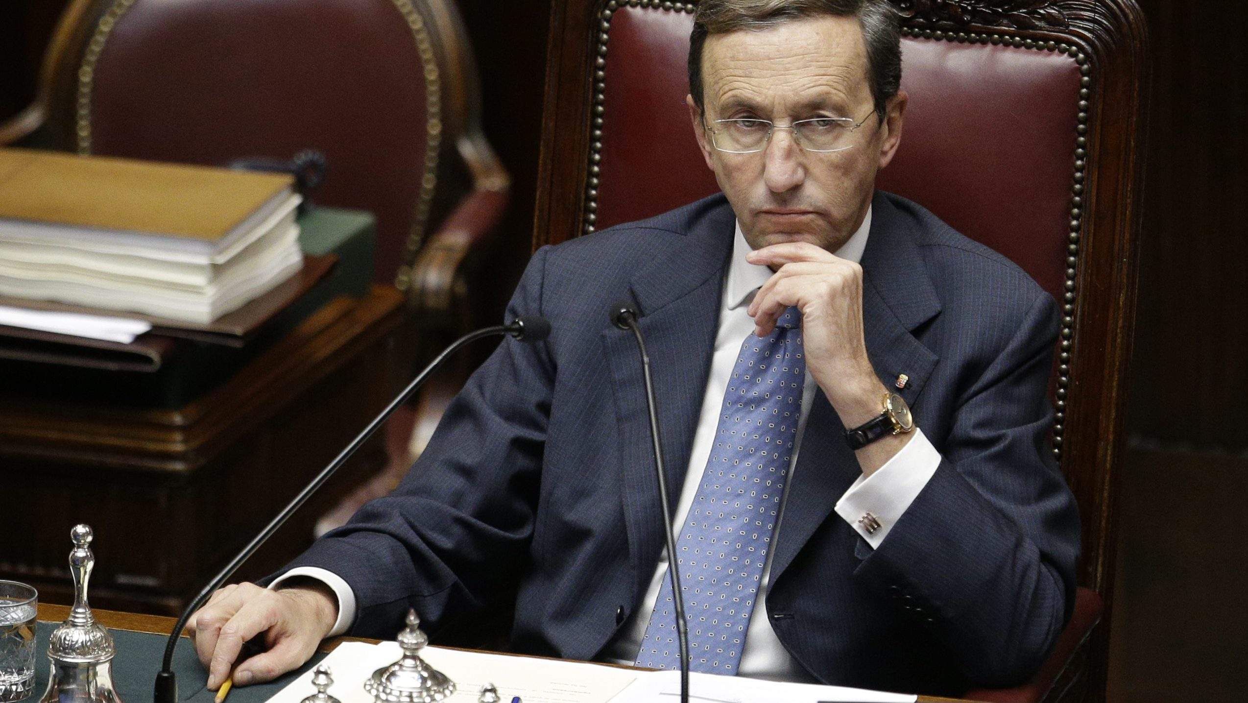 Lower Chamber President Gianfranco Fini looks on prior to a confidence vote at the Lower Chamber, in Rome, Friday, Dec. 21, 2012. (AP Photo/Andrew Medichini)