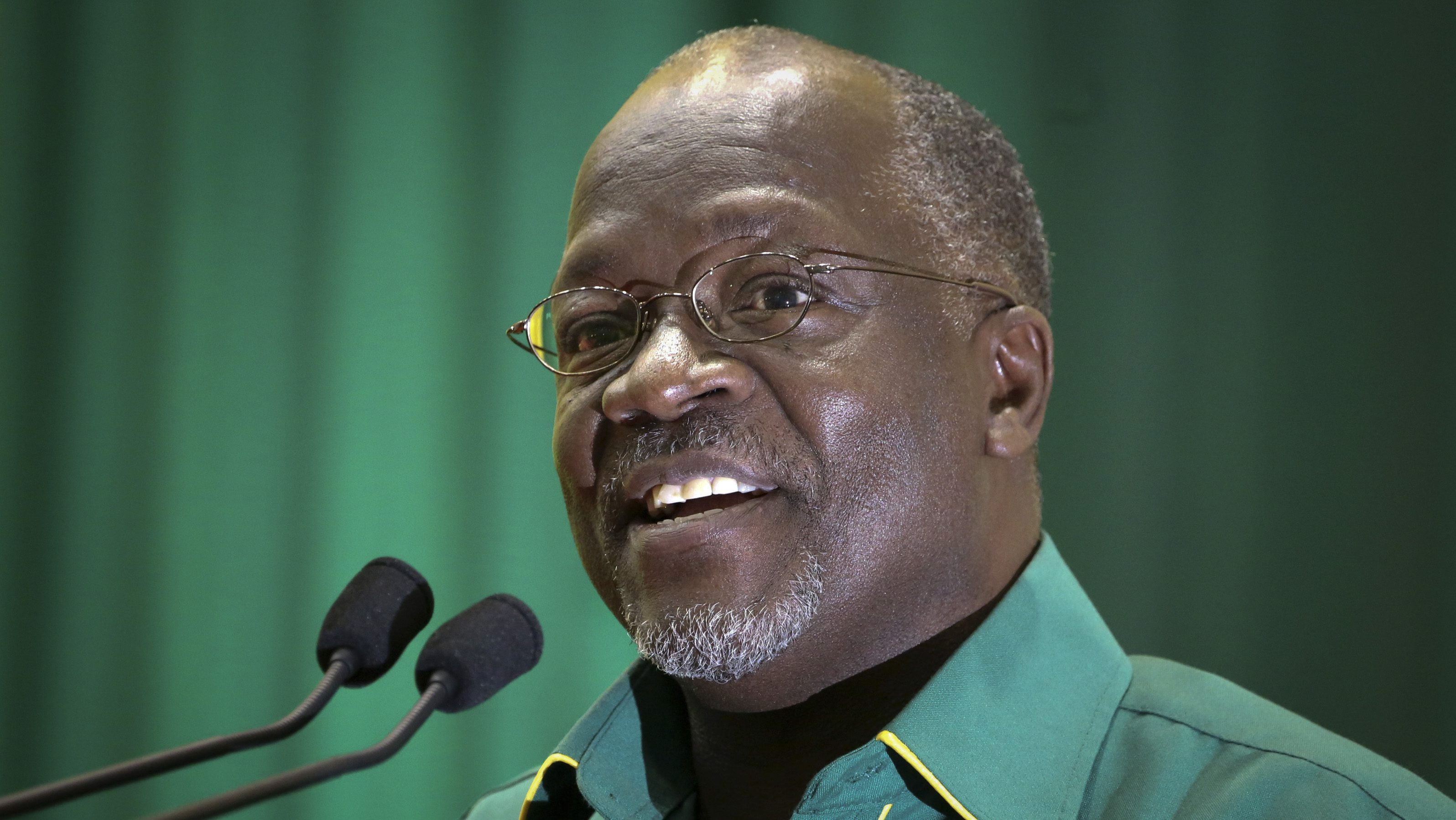 FILE - In this Saturday, July 11, 2015 file photo, Tanzania's presidential candidate John Magufuli speaks at an internal party poll to decide the ruling Chama Cha Mapinduzi (CCM) party's presidential candidate, which they later chose him to be, in Dodoma, Tanzania. Tanzania's election commission declared Thursday, Oct. 29, 2015 that John Pombe Magufuli of the ruling party was the winner of the country's presidential election.