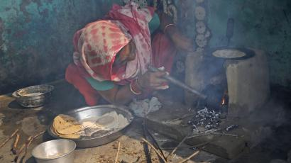 Indian woman cooks