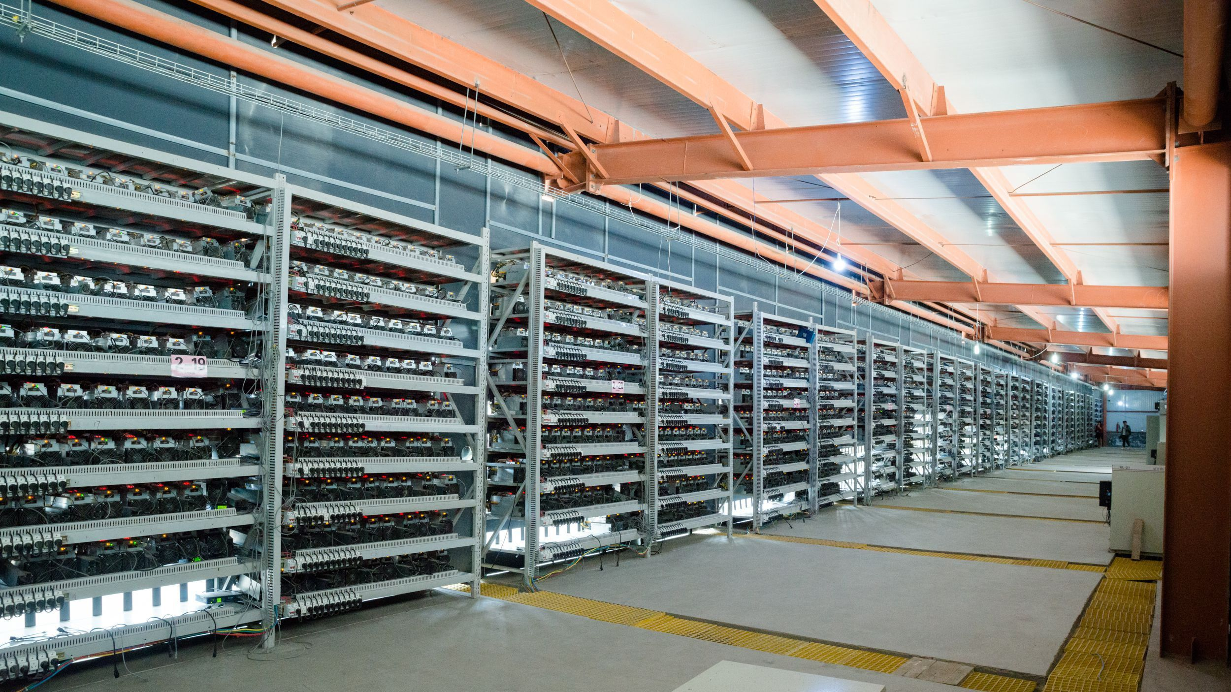 A rack of bitcoin miners at Bitmain's facility in Ordos, Inner Mongolia.