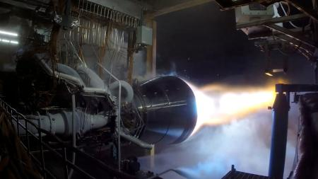 A view of the BE-4 engine firing in its test stand.
