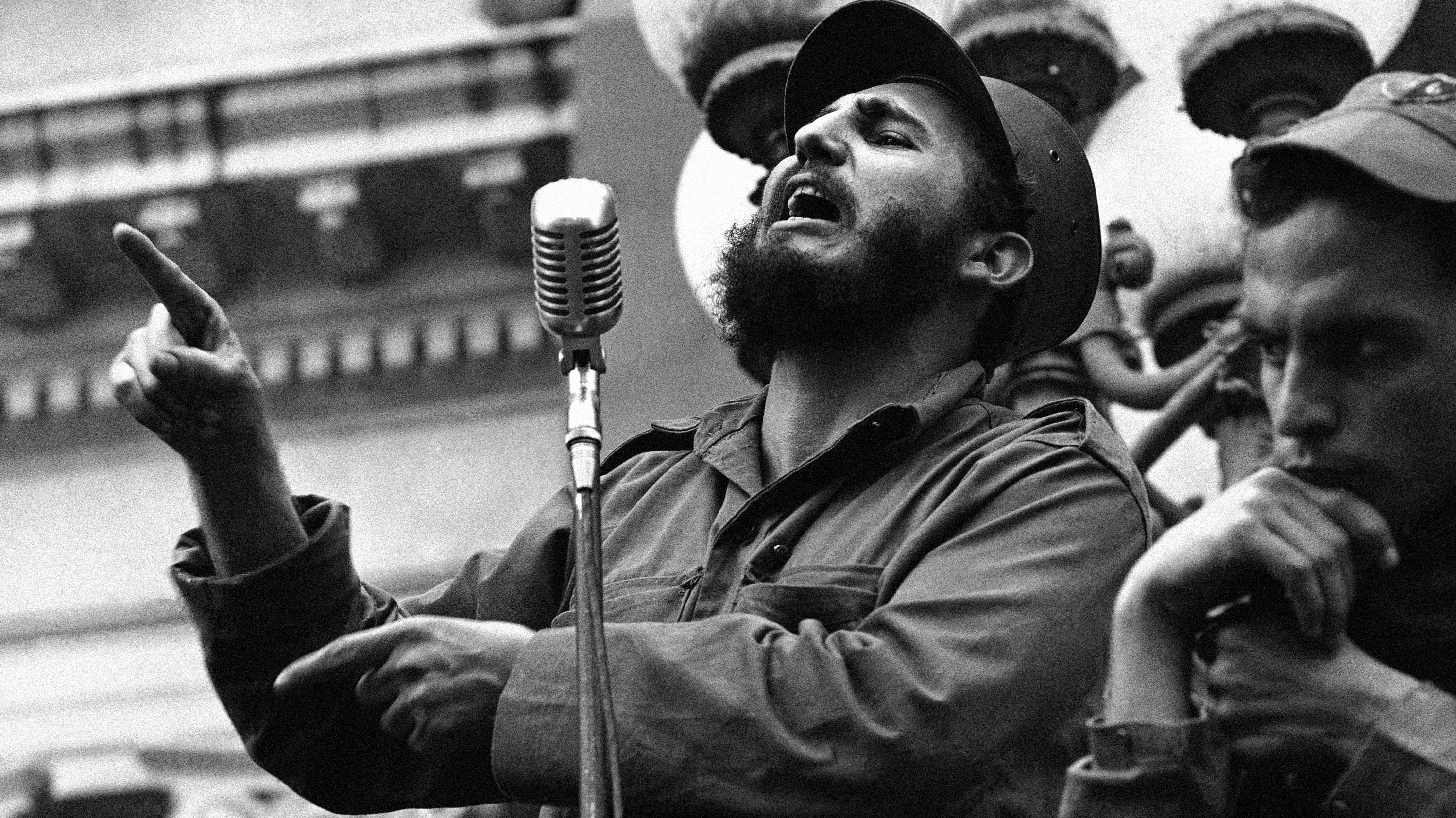 Rebel leader Fidel Castro draws a laugh from the crowd in the street as he makes a speech in Colon, Jan. 7, 1959. Castro is making appearances at many towns as he and his caravan make their way toward Havana. He is expected to arrive in the capital tomorrow for a big welcome.