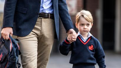 Prince George arrive for his first day of school at Thomas's school in Battersea