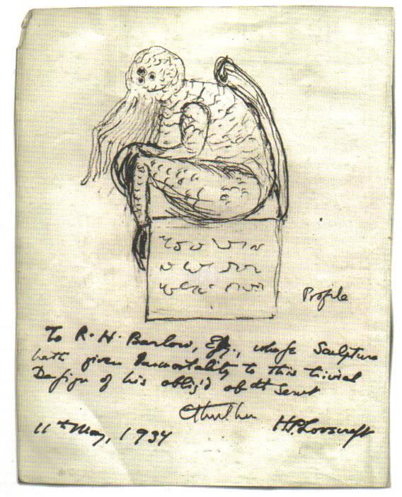 HP Lovecraft's 1934 sketch of a Ctulhu statuette.