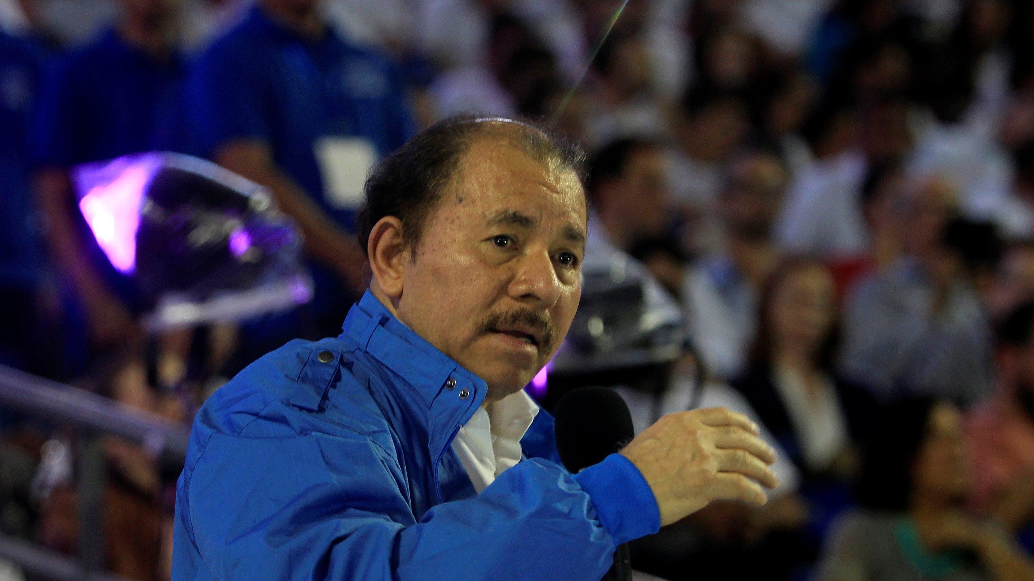 Nicaragua's President Daniel Ortega speaks during the inauguration of the new baseball stadium Dennis Martinez in Managua, Nicaragua. October 19,2017.
