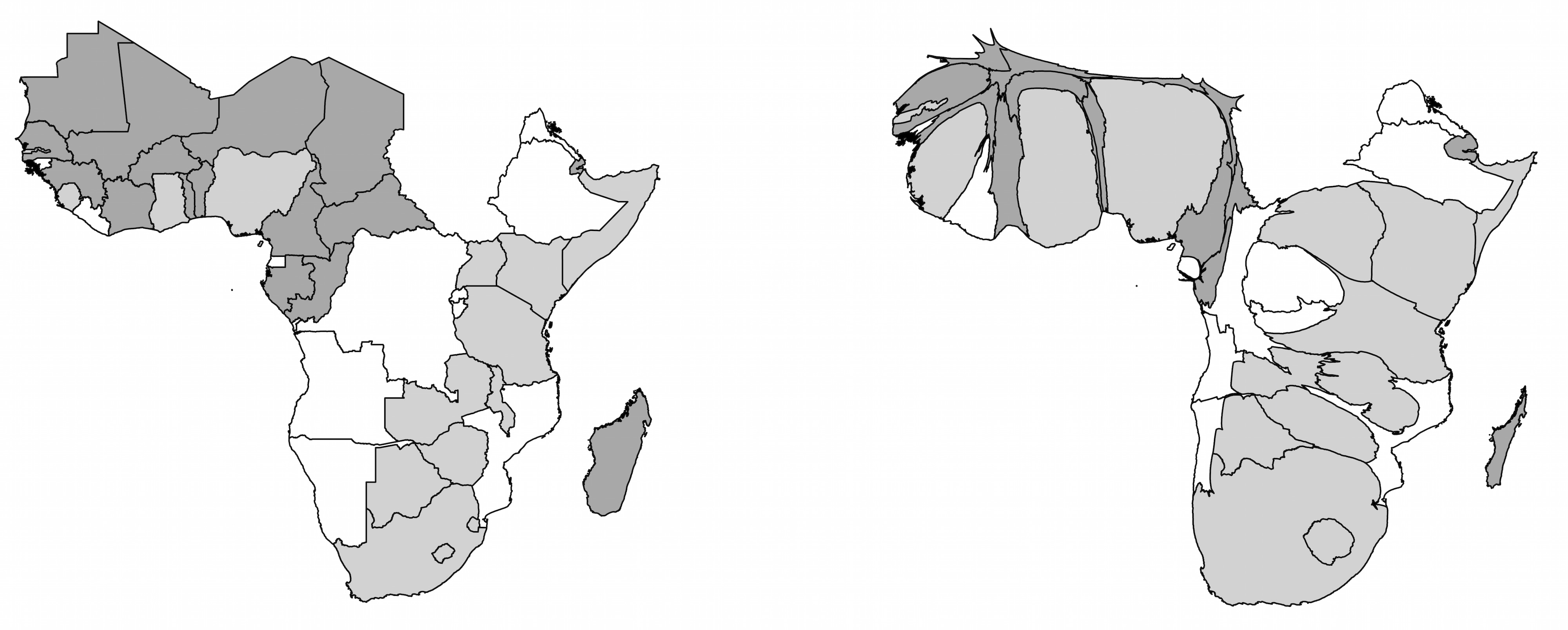The cartogram on the right shows the same map after it has been distorted so that the area of a country is approximately proportionate to the number of articles written about it between 1993 and 2013. Light grey countries were British colonies and dark grey countries were French colonies.