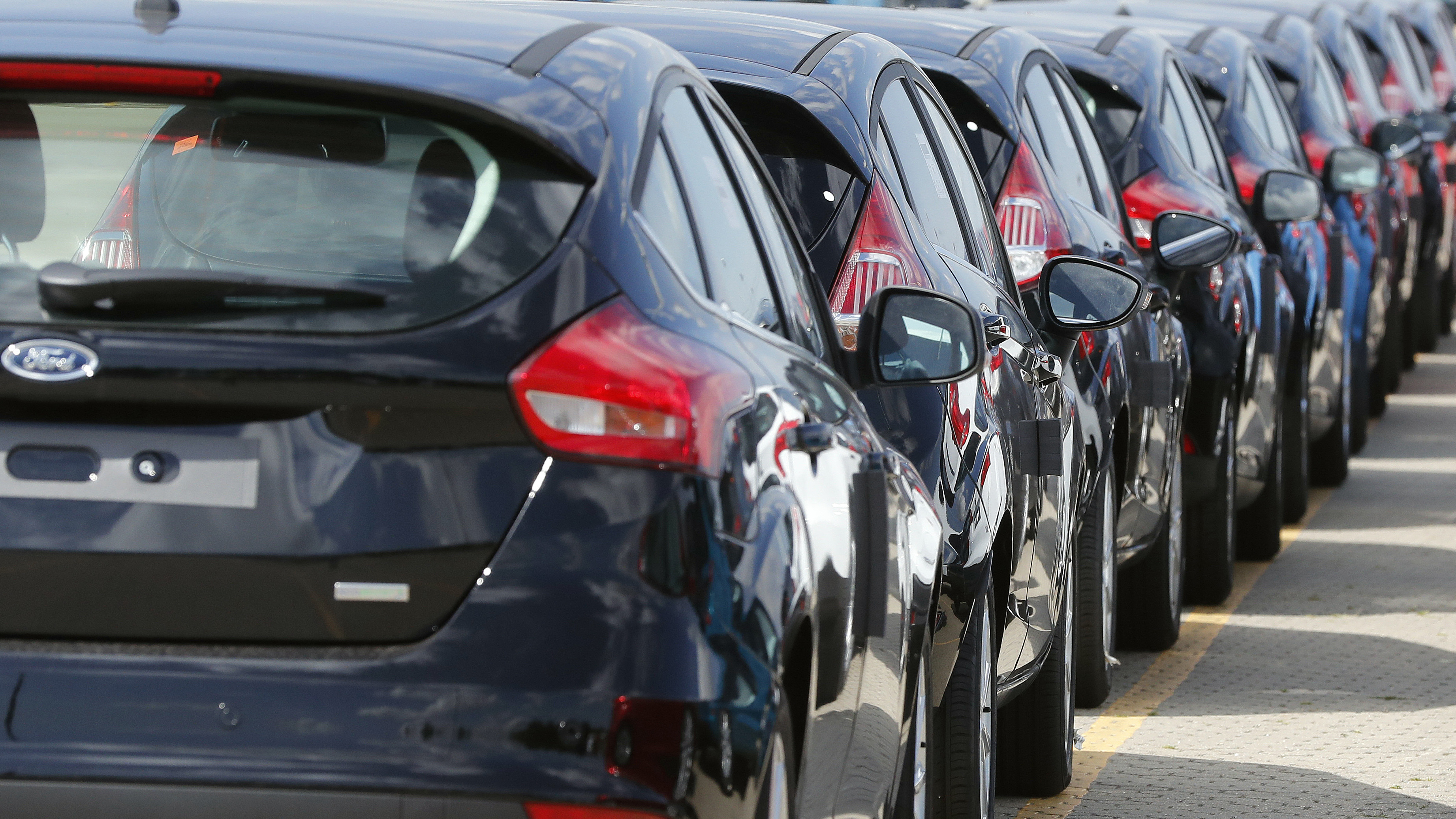 *Ford cars wait for deployment after arrival by ship at the Ford Dagenham diesel engine plant in London, Friday, July 21, 2017. Ford's Dagenham diesel engine plant is a marvel of mechanization _ a steel and chrome hangar full of LED lighting, robots and computer-controlled machine tools. The U.S. carmaker has invested $2.5 billion in the plant, where 3,150 people churn out an engine every 30 seconds.   (AP Photo/Frank Augstein)