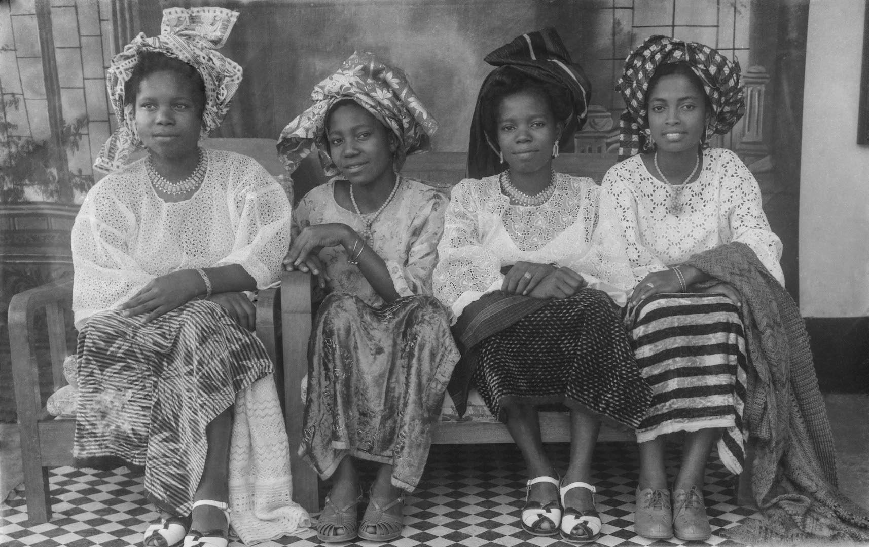 A portrait of four sisters from the Ideal Photo Studio in Benin City in 1950.