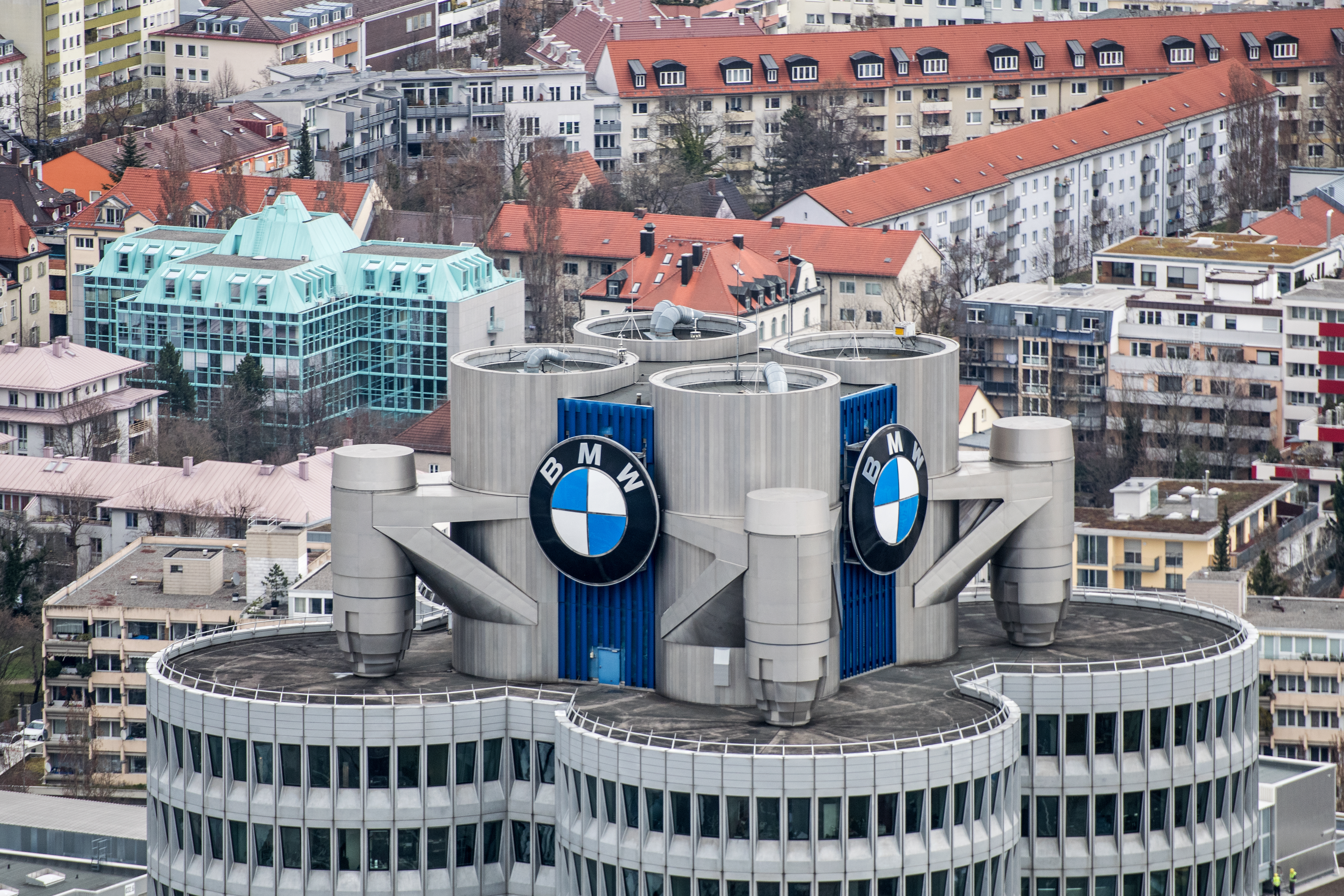 A general view shows the headquarters of the German car manufacturer BMW Group in Munich, Germany, 21 March 2017.