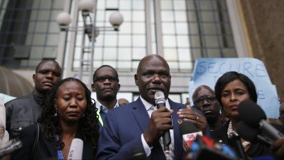 epa06119763 Wafula Chebukati (C), the chairman of Kenya's Independent Electoral and Boundaries Commission (IEBC), addresses the media in front of the IEBC headquarters after meeting the members of the civil society who protested against the killing of Chris Msando, the ICT manager at the IEBC, in Nairobi, Kenya, 01 August 2017. Chebukati urged public not to speculate on Msando's death. Msando, who was in charge of the electronic voting system, went missing on 28 July before his body, with alleged signs of torture, was found on the outskirts of Nairobi on 31 July. Kenya will hold general elections on 08 August.