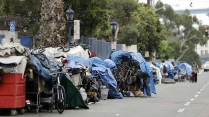 Lines of people experiencing homelessness