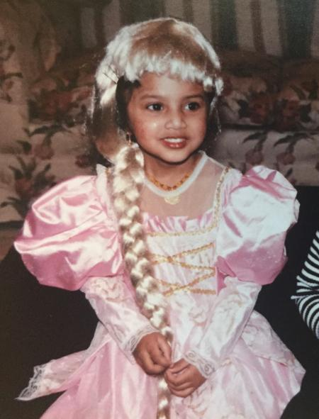 Stock costume? Check. Hair isn't a racial stereotype but central to the character? Check. My brown self dressed as a white princess? Totally ok.