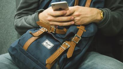 iPhone and backpack