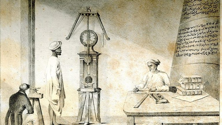 Inside of Madras Observatory with chronometer.