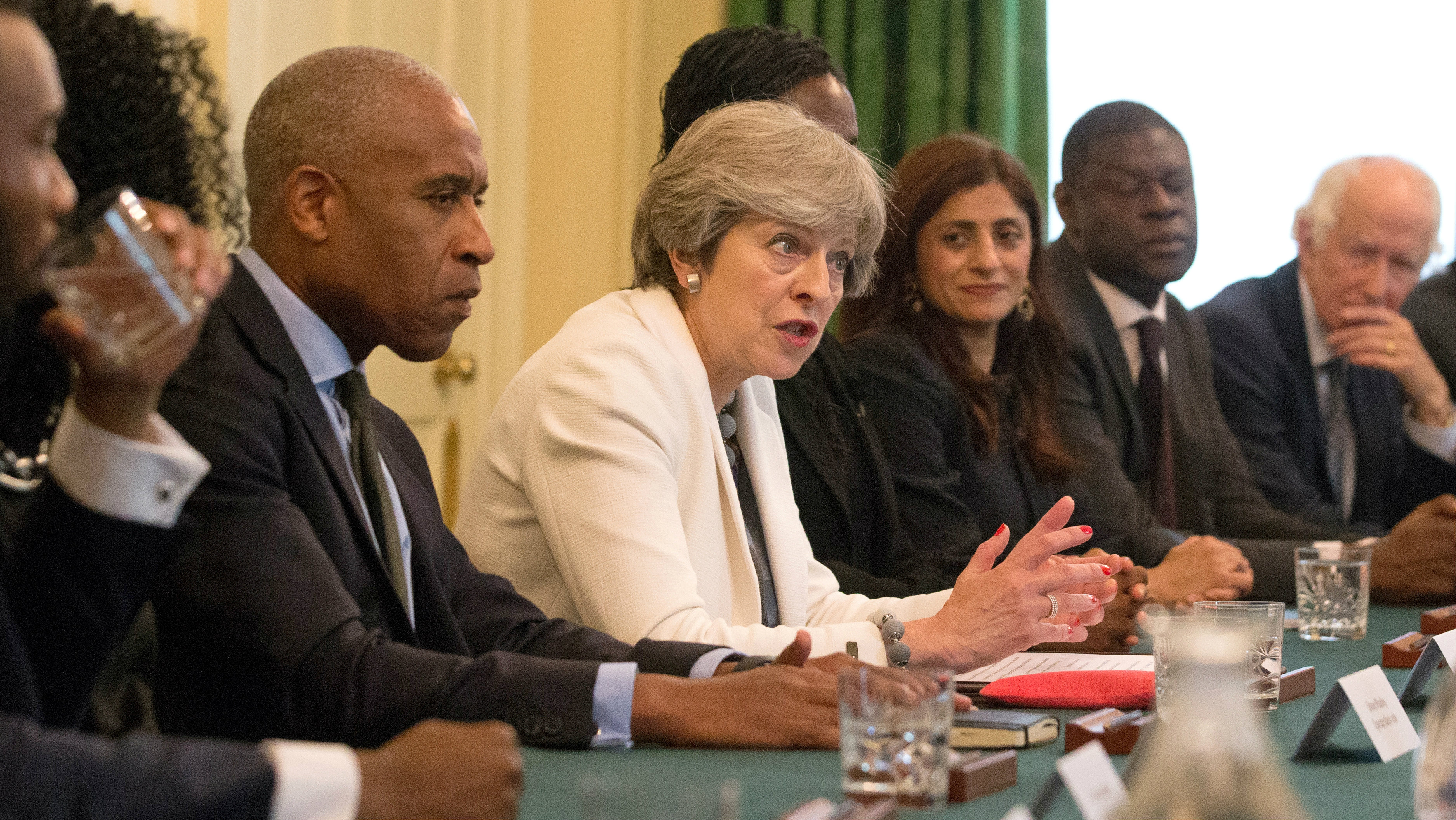 Britain's Prime Minister, Theresa May, hosts a discussion around the cabinet table on the findings of the Race Disparity Unit