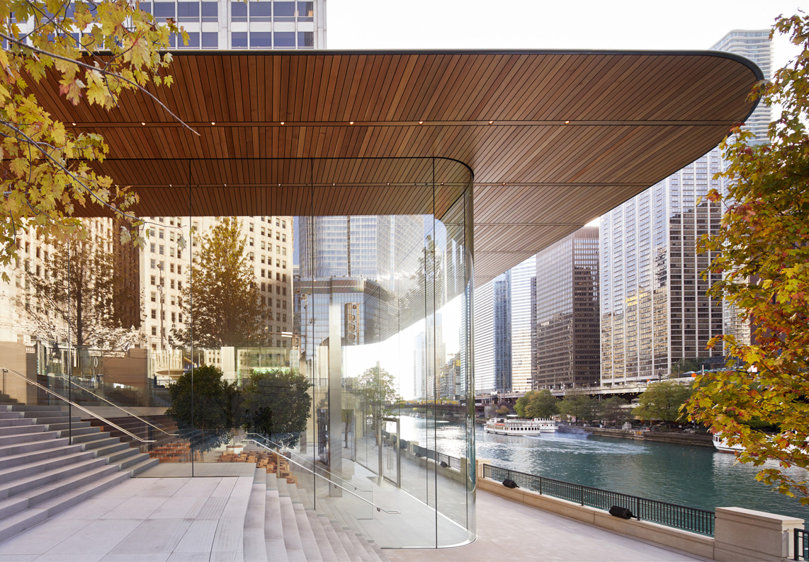 Apple's new flagship store on North Michigan Avenue in Chicago.